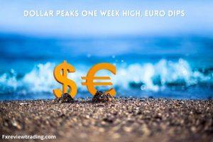 Dollar peaks one week high, Euro dips