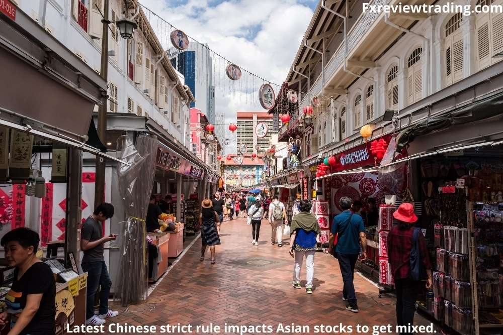 Latest Chinese strict rule impacts Asian stocks to get mixed