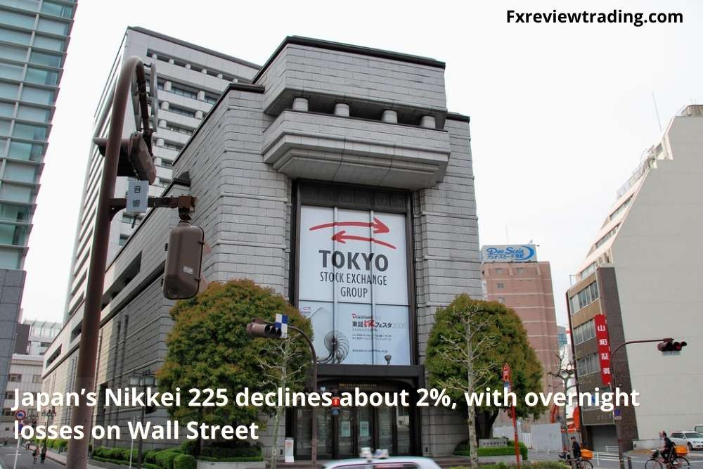 Japan's Nikkei 225 declines about 2% with overnight losses on Wall Street